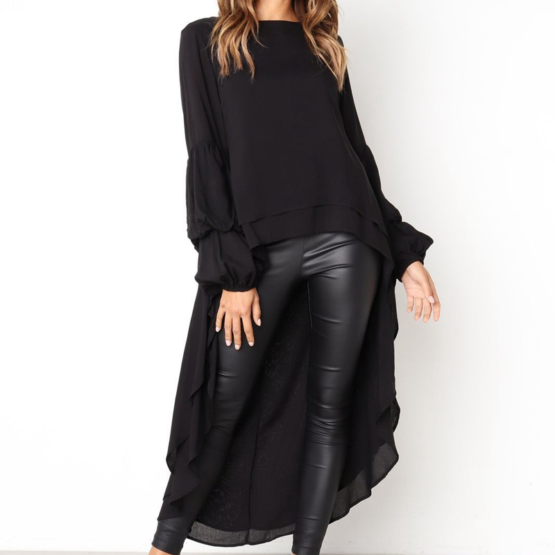New 2019 Women Long Sleeve Chiffon Tunic Bloues Shirt Tops Ladies Casual Before Long After Short Shirt