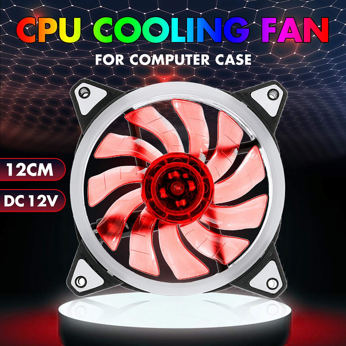 Newest Computer Case PC Cooling Fan LED Lighting <font><b>120</b></font>*<font><b>120</b></font>*25mm 12V Quiet Computer <font><b>Cooler</b></font> Cooling LED Lights Ring Case Fan CPU image