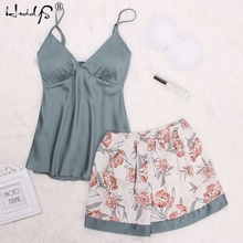 Sexy Floral Print Lace Cami Top And Shorts Satin Pajama Set 2019 Women Spaghetti Strap Sleeveless Patchwork Elegant Sleepwear