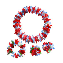 4pcs/Set Ruffled Simulated Silk Flower Hawaiian Leis Necklace Bracelets Flower Wreath Headband Floral Garland Crown(China)