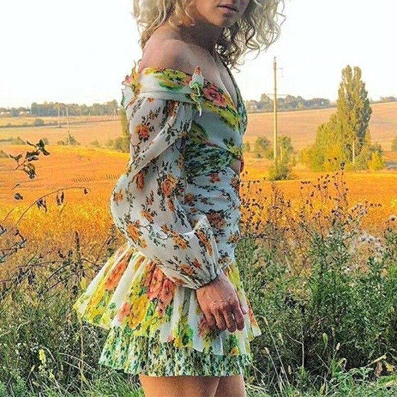 TWOTWINSTYLE fuera del hombro ahueca hacia fuera los vestidos de las mujeres de la manga de la linterna de los colores de la impresión Mini vestido femenino moda Otoño 2019-in Vestidos from Ropa de mujer    3