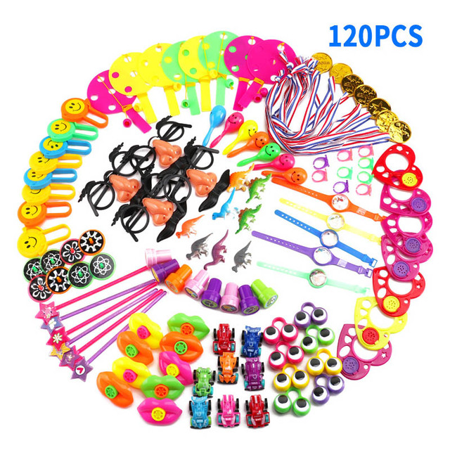 Kids School Rewards Carnival Prizes Goodie Bags 120 Pcs Toys Giveaways Festive Party Supplies Assorted Gift Pinata Fillers