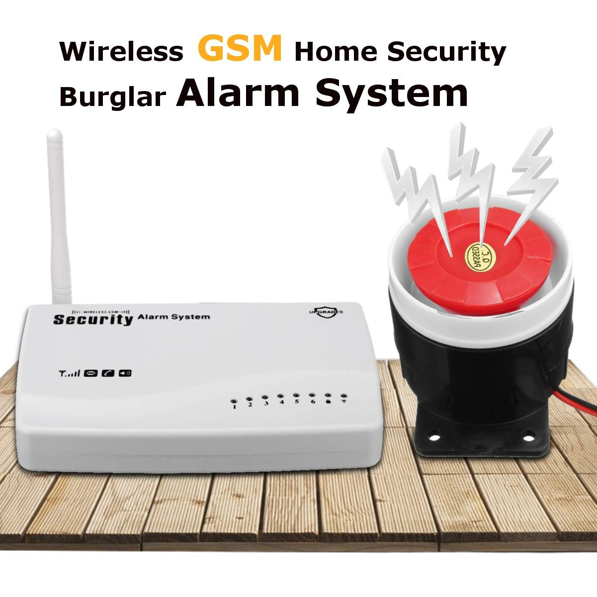 Système d'alarme de sécurité anti-intrusion sans fil GSM 433 MHZ avec télécommande adaptateur de puissance de sirène filaire