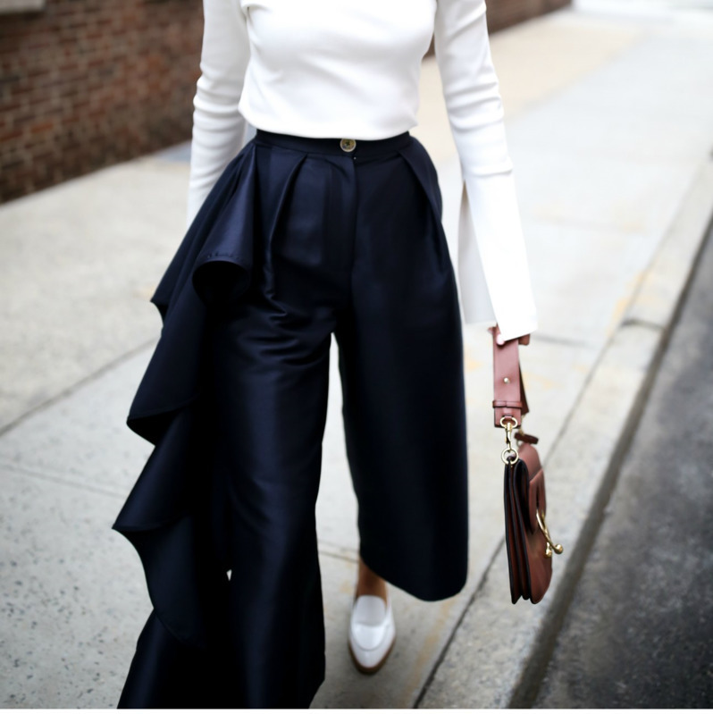 Moda De Otoño Mujer 2018 Pantalones Ropa Sueltos Blue Ancha Navy Pierna Muerte Volantes Nueva Alta Tobillo Pants Cintura Del Longitud qtI4EwFgn
