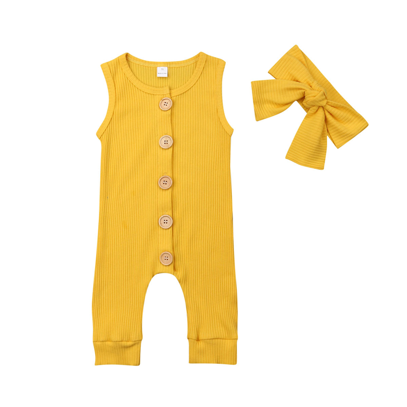 2019 Summer Solid   Rompers   Newborn Infant Baby Girl Boy Outfit Cotton   Romper   Jumpsuit Bebe Kids Ropa Sleevless Casual Clothes Set