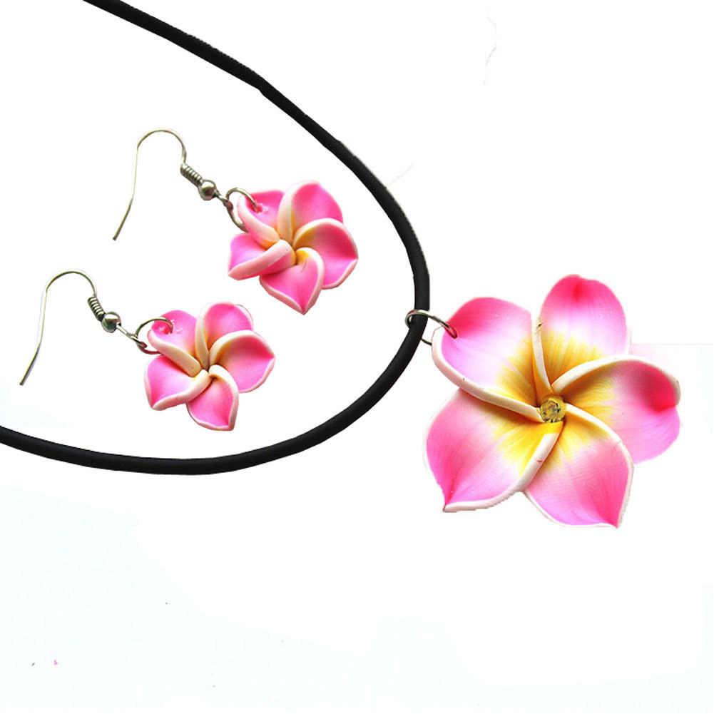 ใหม่แฟชั่นฮาวาย Plumeria ดอกไม้ชุดเครื่องประดับ Polymer Clay ต่างหูสร้อยคอจี้