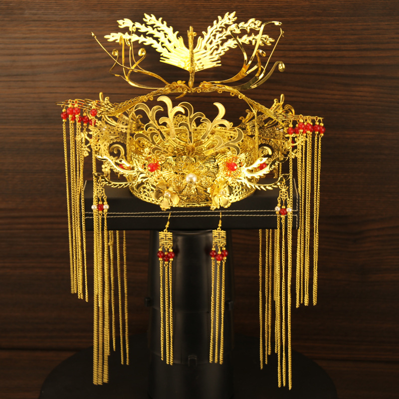 T07 luxueux ancien mariage coiffure mariée bijoux ensemble doré Phoenix Coronet reine mariée couronne Tassles boucles d'oreilles