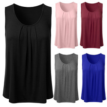b35d26f4d294 2018 European And American Summer EBay Amazon Explosion Models Shirred  Sleeveless round Neck Solid Color Loose