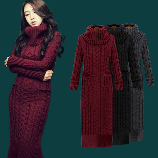 57aab4ea1f3 Dropshipping Winter Knit Dresses Europe Long Sleeve Pullovers Turtleneck  Casual Slim Warm Maxi Sweater Dress Women s Clothing