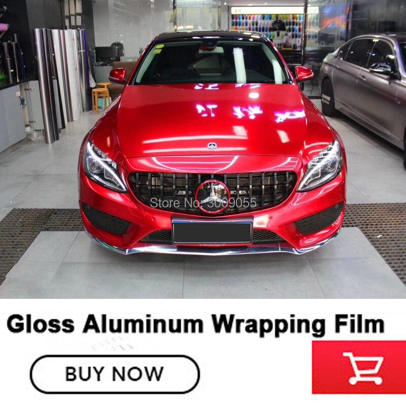 Feuille d'enveloppe de voiture rouge brillante brillante de Film de vinyle métallique de la meilleure qualité avec l'autocollant adhésif brillant de véhicule libre de bulle d'air
