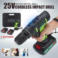 25V Double Speed Electric Screwdriver Cordless Impact Drill 220V Lithium Battery 3/8 Power Driver 1/2 Batteries Tools