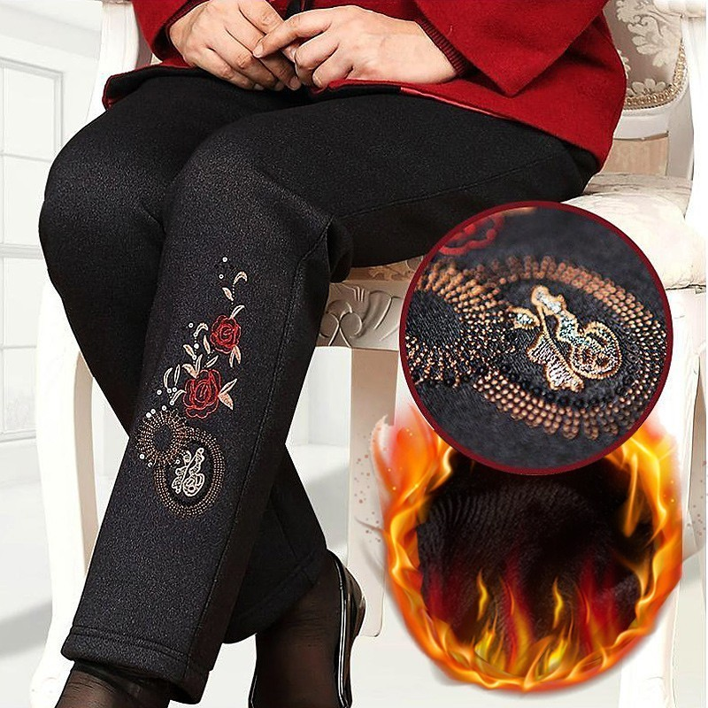 Thick Velvet Warm Pants Trousers Middle Aged Women Winter Casual Loose Embroidery Elastic Waist Pants Pantalon Femme Plus Size in Pants amp Capris from Women 39 s Clothing