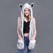 10 Styles Faux Fur Hood Animal Hat Ear Flaps Hand Pockets 3 in1 Animal Hat Wolf Plush Warm Earmuff Animal Cap with Scarf Gloves