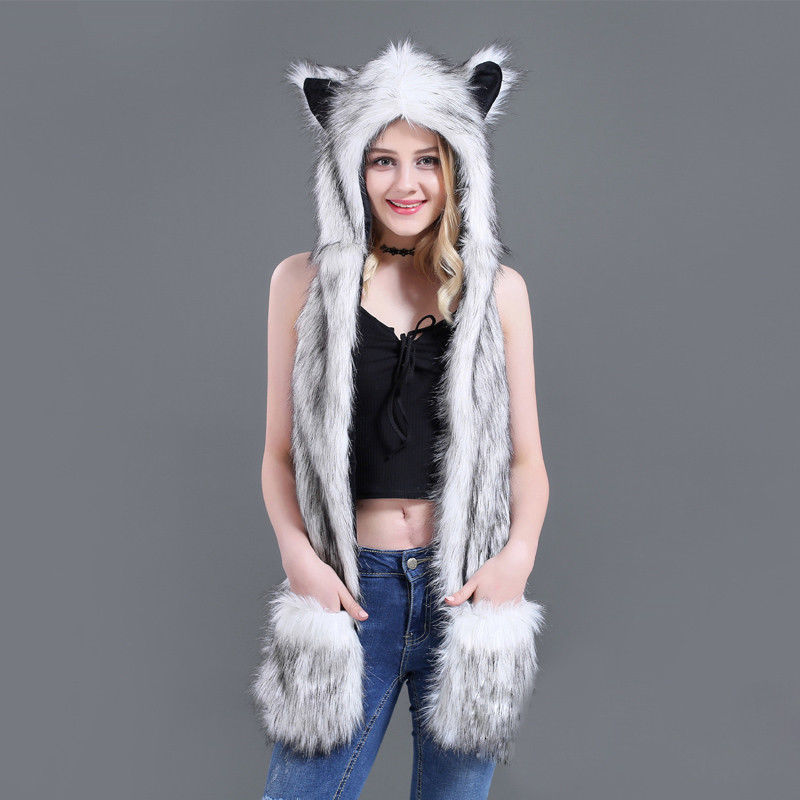 10 Styles Faux Fur Hood Animal Hat Ear Flaps Hand Pockets 3 In1 Animal Hat Wolf Plush Warm Earmuff Animal Cap With Scarf Gloves
