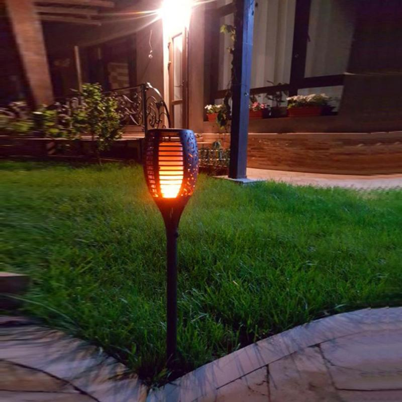 Solar Powered 3 Modes Streetlight LED Flame Landscape Lamp Torch Lights