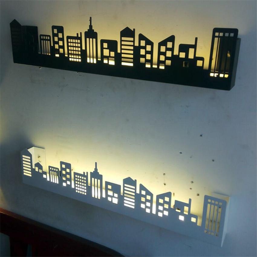 Lampe de mur LED nordique Style scandinavie appliques de LED de ville lumières étagère luminaires salon chambre appliques Luminaire