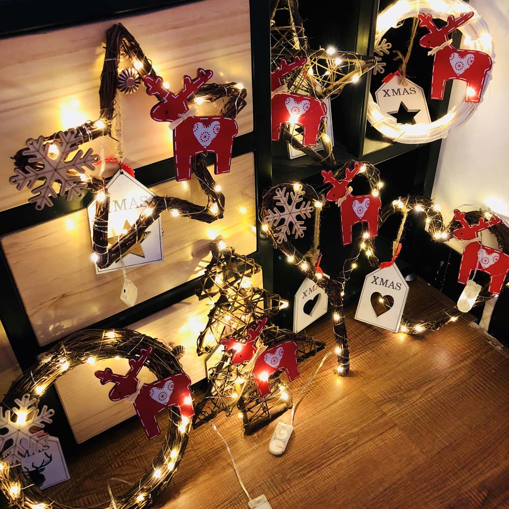 Christmas Party Decoration Stars/round/heart Tree Vine Wreath Rattan With 20led Light Garland Christmas Decor Ornament Gift Event & Party