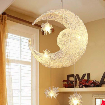 Moon&Star Pendant Lights Kid's Room Lighting Modern Child Bedroom Lamps Aluminum for Living Room Home Decoration