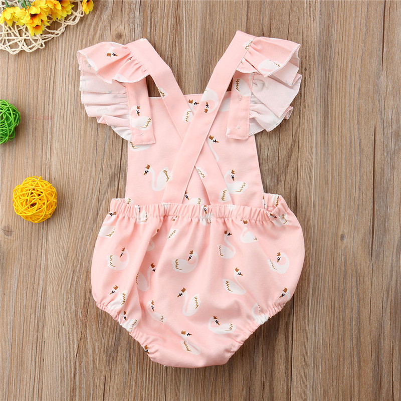 Newborn Toddler Kids Baby Girls Swan Romper Bodysuit Backless Sunsuit Outfits