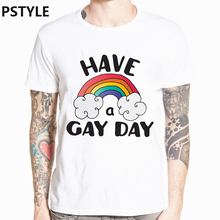 Pstyle have gay day LGBT pride print t shirt rainbow color design summer shoort sleeve t-shirt graphic streewear  tee tops