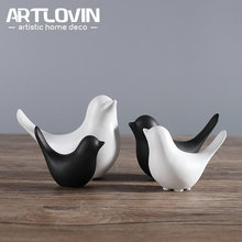 Nordic Creative White Ceramic Bird Figurines Home Decoration Accessories Party Crafts for Living Room Shelves Wedding Ornaments