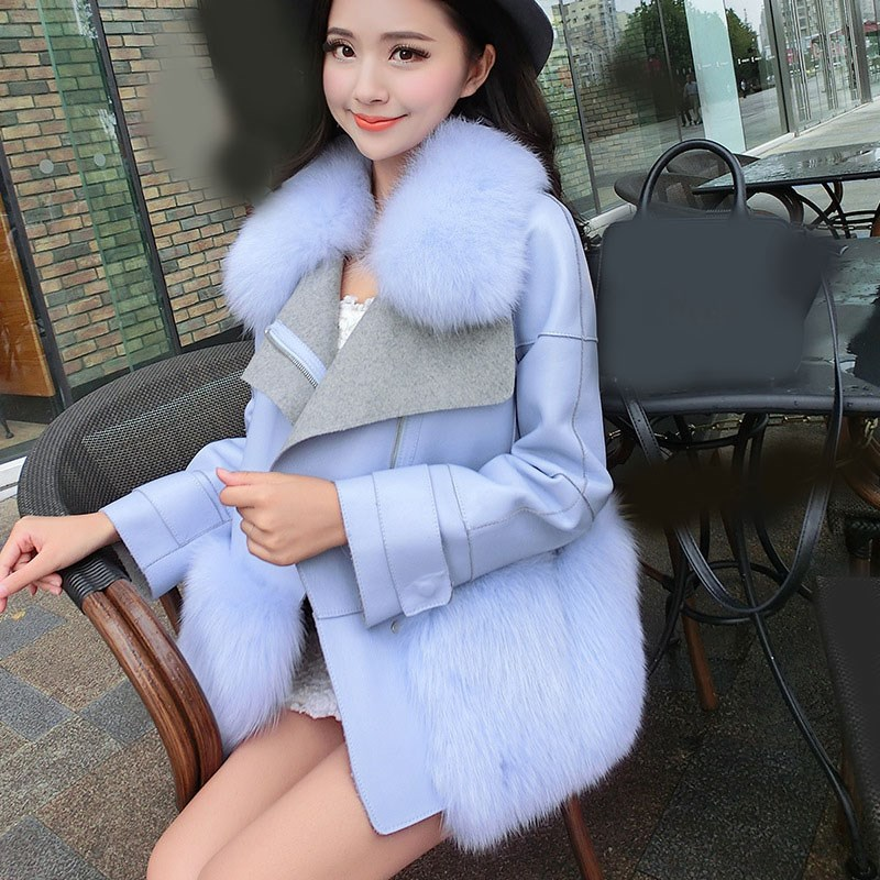 Winter Women Faux Fox Fur Coat Long Sleeve Solid Faux   Leather   Jacket Large Fur Collar Patchwork Fur Coat