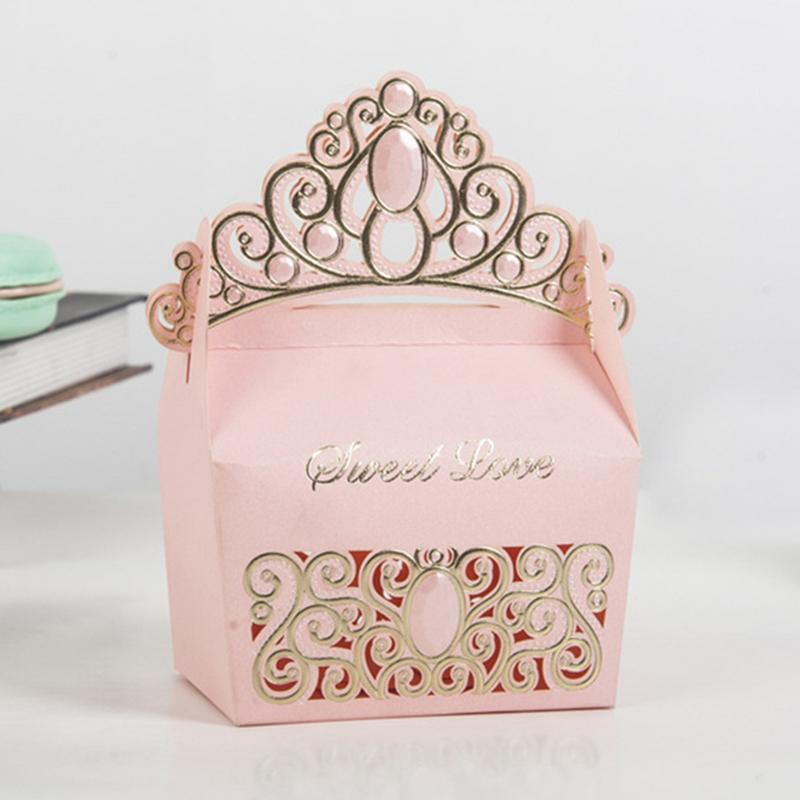 10pcs/set European Crown Shaped Candy Boxes For Wedding Ceremony DIY Wedding Baby Shower Party Favors And Gifts Box For Guests