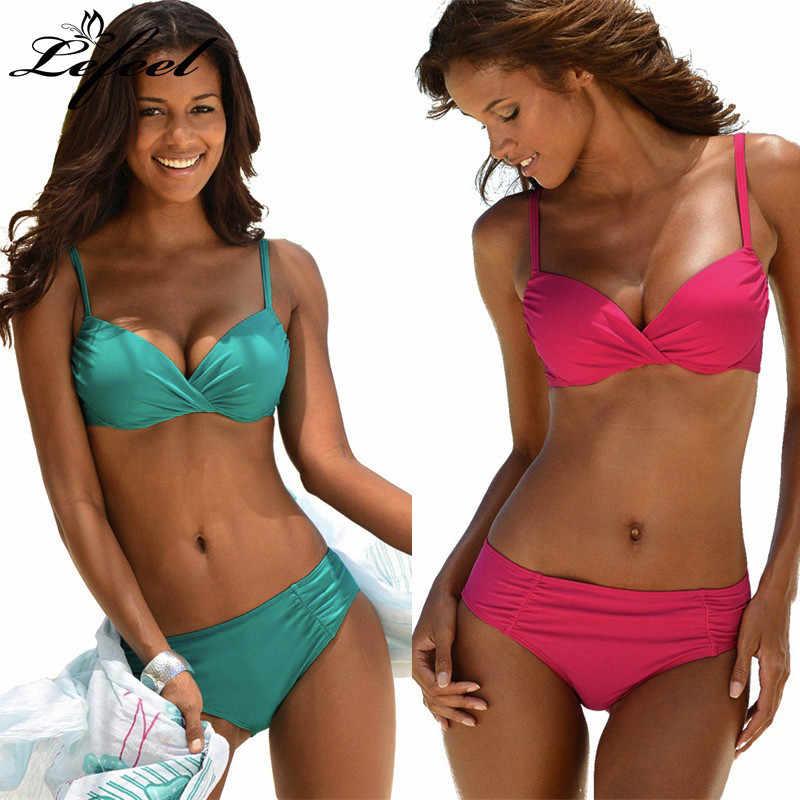 cf4e3b40df7 Lefeel 2019 Sexy Bikinis Set Push Up Swimsuit Women Solid Bikini Dot  Swimwear Women Plus Size