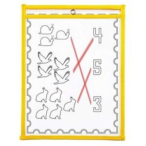 Image 5 - 30 wielobarwne łatwe wymazywanie kieszeni, Oversize 10X13 kieszenie, idealne do organizacji w klasie, wielokrotnego użytku łatwe wymazywanie kieszeni, uczyć