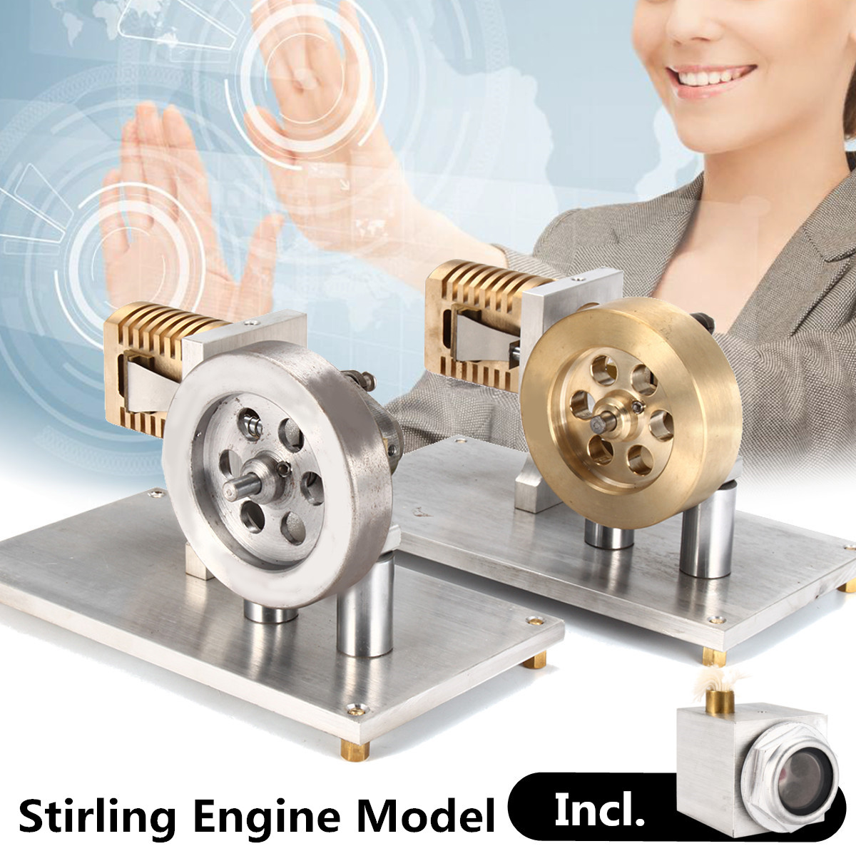 Metal Model Hot Air Stirling Steam Engine Building Kits Flame Lick Vacuum Motor Model Toy School Lab Educational Toys Gifts