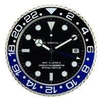 Estilo europeu varejo metal relógio de parede forma calendário relógio de parede com data para sala estar mudo relógios de parede|Rel. parede| |  -