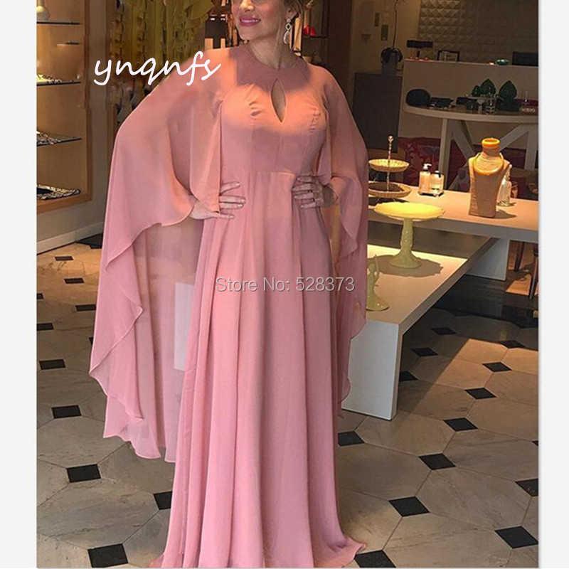 5e9d91f38fb7 YNQNFS Chiffon Dresses Long Cape Cloak Sleeves Gown Vestido Formal Dress  Mother of the Bride