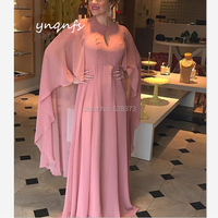 YNQNFS Chiffon Dresses Long Cape/Cloak Sleeves Gown Vestido Formal Dress Mother of the Bride Dresses MD358