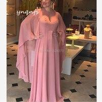 2bdd3bee1c99d8 YNQNFS Chiffon Dresses Long Cape Cloak Sleeves Gown Vestido Formal Dress  Mother Of The Bride Dresses