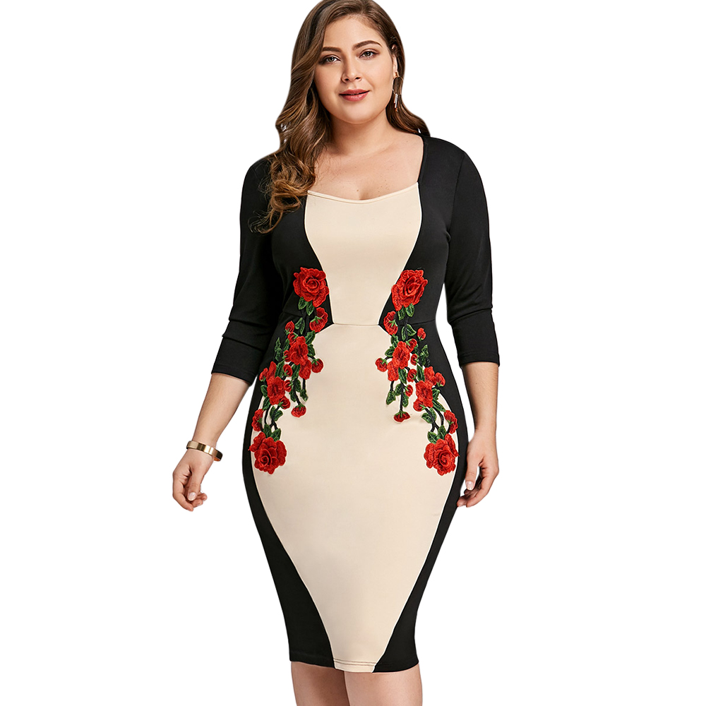 Wipalo Plus Size Embroidered Bodycon Dress Color Block Elegant Embroidery Party Dress 3/4 Sleeve Knee Length Dress Big Size 5XL