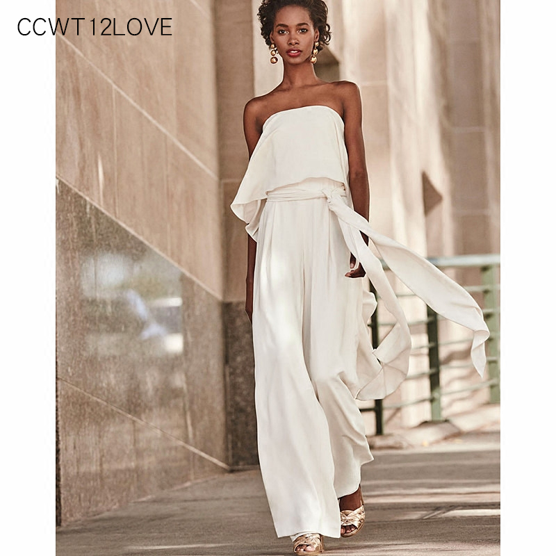 Sexy White Off Shoulder Jumpsuits Wide Leg 2019 Summer Women Holiday Beach Jumpsuit Fashion Sashes Sleeveless Overalls