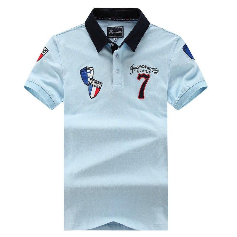 f778232073 Marca Faconnable Bordado Polo de Manga Curta Camisas dos homens Para Os  Homens de Negócios Camisas