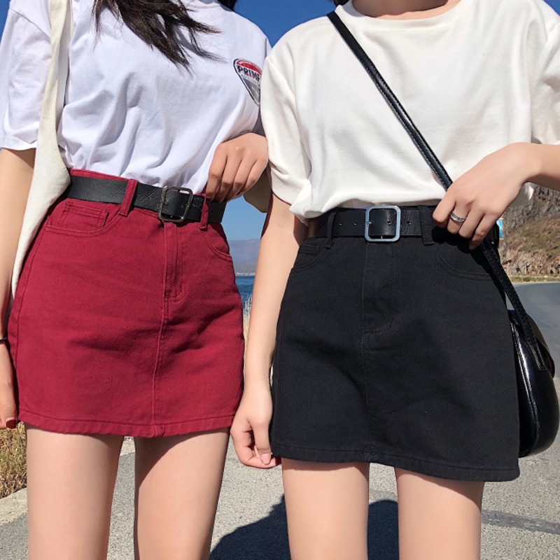 Denim Skirt High Waist A-line Mini Skirts Women 2019 Summer New Pockets Red Black Jean Skirt School Young Girls Streetwear 4XL