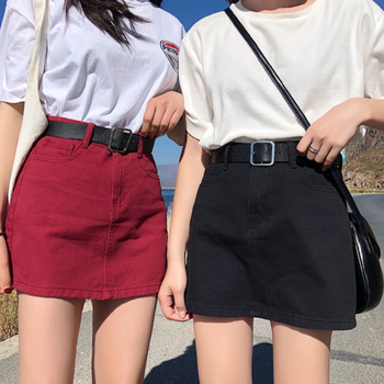 Denim Skirt Red Black Mini Skirts 2019