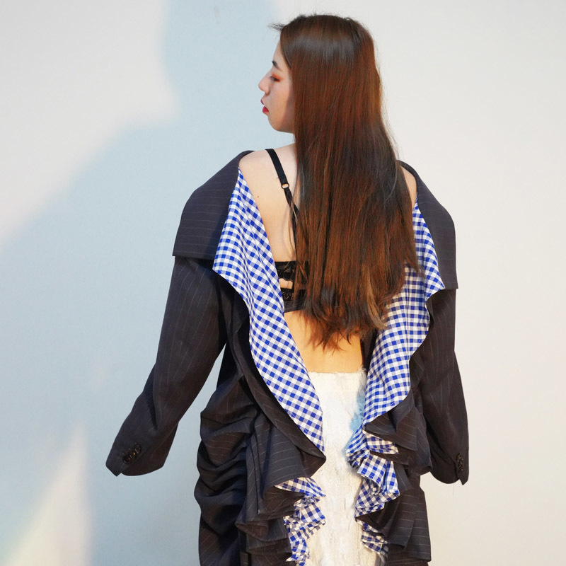 SHENGPALAE Women Blazer Irregular Female Long Blazer Backless Patchwork Plaid Jackets Long Sleeve 2019 New Summer