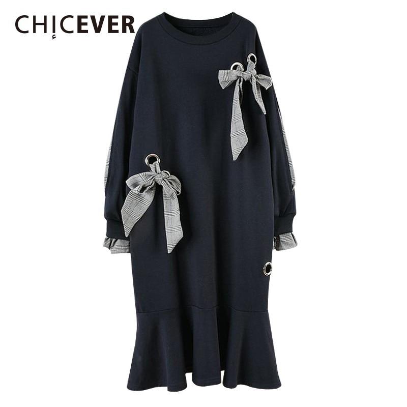 CHICEVER Mermaid Dresses Women O Neck Long Sleeve Bowknot Bandage Midi Sweatshirt Dress Female Korean Fashion 2019 Spring New