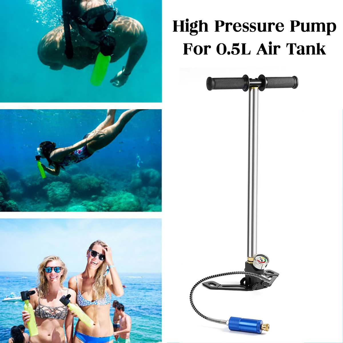 For 0.5L Scuba Diving Spare Tank Hand Pump Oxygen Air Tank Hand Operated Pump 20MPA 3000Psi For SMACO Spare Underwater BreathingFor 0.5L Scuba Diving Spare Tank Hand Pump Oxygen Air Tank Hand Operated Pump 20MPA 3000Psi For SMACO Spare Underwater Breathing