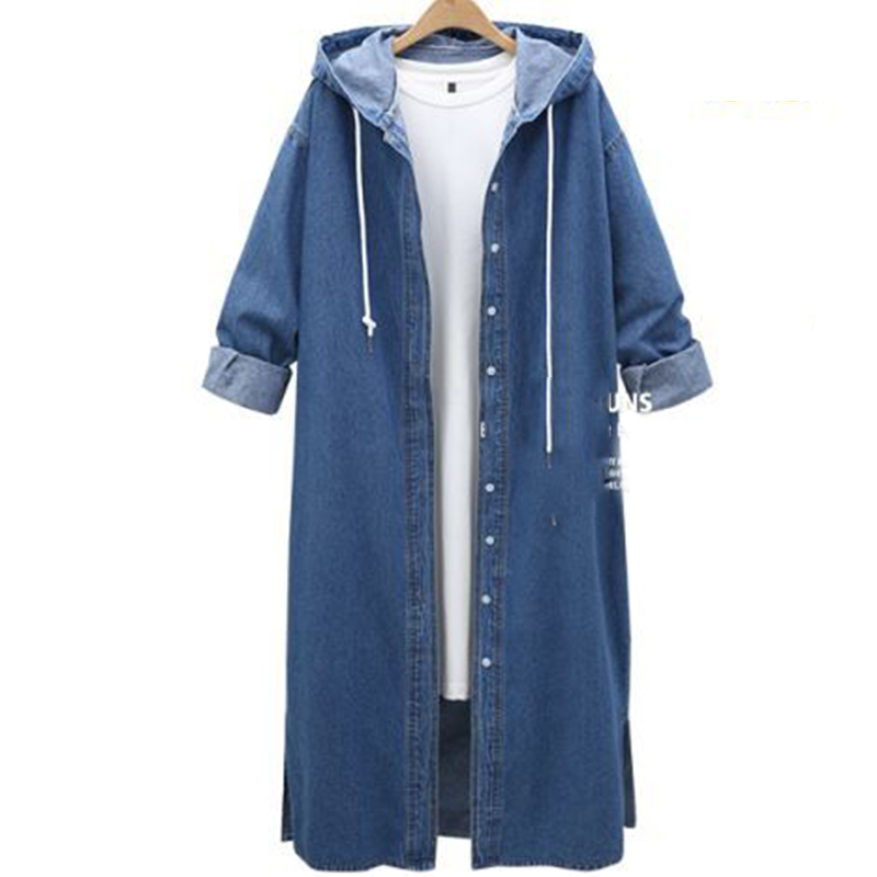 Demin   Trench   Coat Autumn Outwear Woemn Overcoat Female Casual Long Loose Coats For Lady 2019 Autumn New Women   Trench   Coat Femme