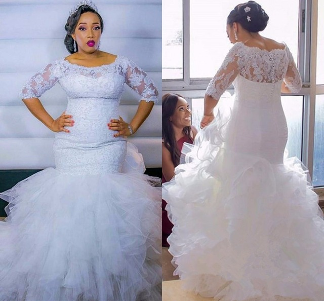 Robe De Mariage Lace Wedding Dresses For Women 2019 Half sleeve Plus Size Tiered Cascading Ruffles Mermaid Dress Bridal Gowns