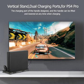 Vertical Stand Dock Mount Game Console Support Base Holder+Dual Charging Ports Dual Cooling Fan for PS4 Pro