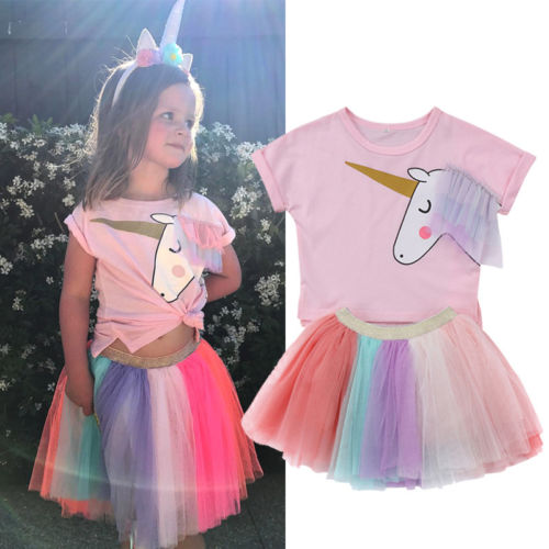 2Pcs Kids Baby Girls Unicorn Top T-shirt Lace Skirt Outfits Clothes Summer 6M-5T