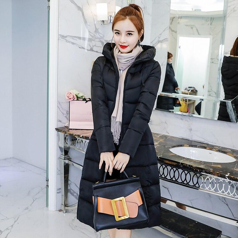 6190bccec4c3 S-3XL autumn winter Women Plus size cotton Down jacket hoodie knee-length  long Parkas warm Jackets Female winter coat clothes