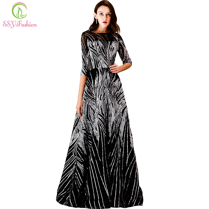 SSYFashion New Luxury Sequins Long Evening Dress Banquet Elegant Black Half Sleeved Floor-length Party Prom Gown Robe De Soiree