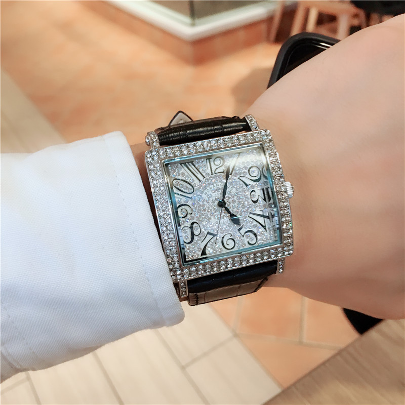 2019 New Arrival Popular 4 Colors Quartz Watch For Couple Chic Diamond Leather Strapt Waterproof Digital Watches Lover G