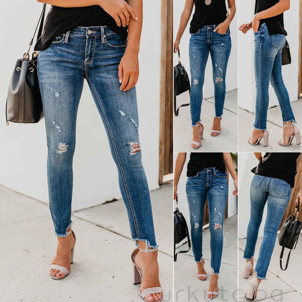 2019 plus récent femmes chaudes Stretch déchiré en détresse maigre taille haute Denim pantalon déchiqueté jean pantalon